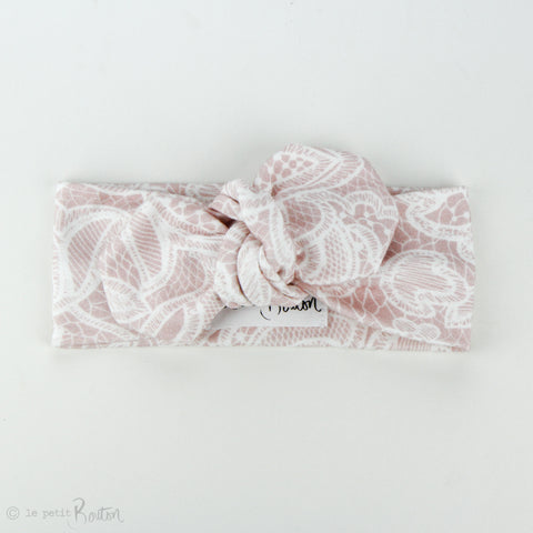 Autumn18 Organic Cotton Top Knot Headband - Dusty Pink Lace
