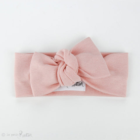 Organic Cotton Ribbed Bow Knot Headband - Dusty Pink