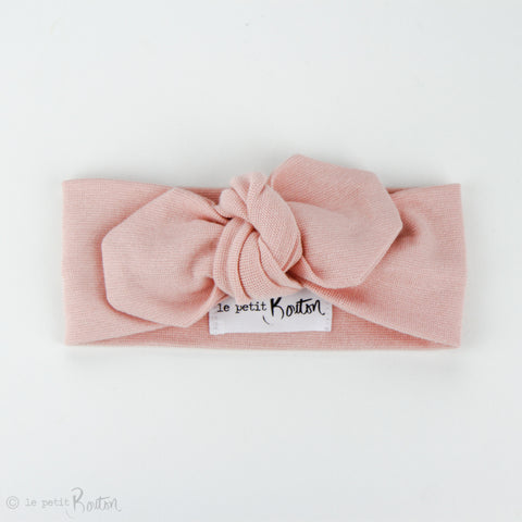 Autumn18 Organic Cotton Ribbed Top Knot Headband - Dusty Pink