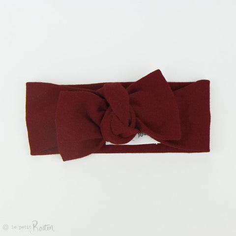 Autumn18 Organic Cotton Ribbed Bow Knot Headband - Wine