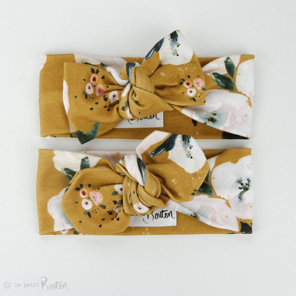 Autumn18 Organic Cotton Bow Knot Headband -  Golden Floral