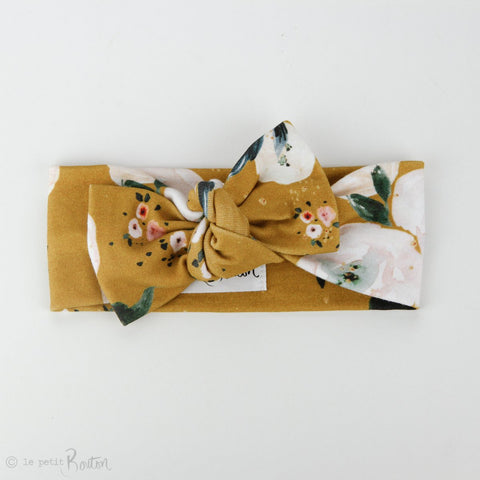 Organic Cotton Bow Knot Headband -  Golden Floral