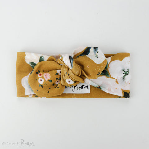 Autumn18 Organic Cotton Top Knot Headband -  Golden Floral