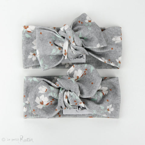 Autumn18 Organic Cotton Bow Knot Headband -  Grey Linen Floral