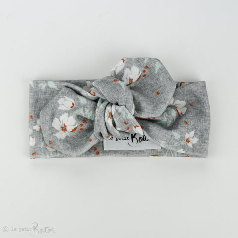 Autumn18 Organic Cotton Top Knot Headband -  Grey Linen Floral