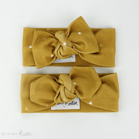 Autumn18 Organic Cotton Bow Knot Headband - Mustard Triangle