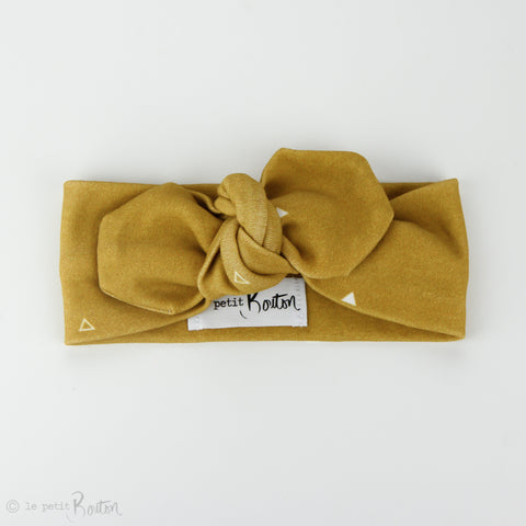 Autumn18 Organic Cotton Top Knot Headband - Mustard Triangle