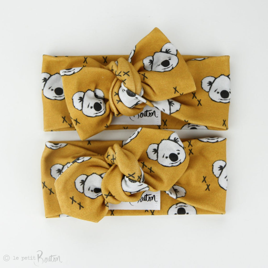 Australiana Organic Cotton Bow Knot Headband - Koalas in Mustard