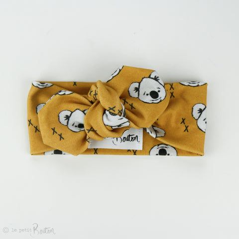 Australiana Organic Cotton Top Knot Headband - Koalas in Mustard