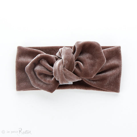 aw19/2 Luxe Velvet Top Knot Headband - Dusty Rose