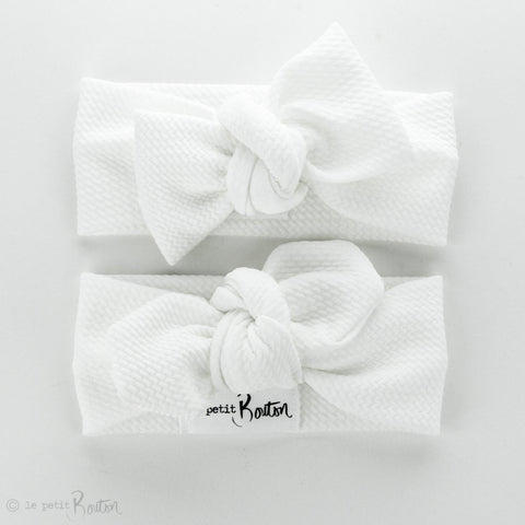 Textured Bow Knot Headband - Snow