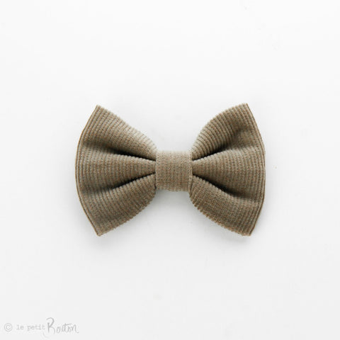 Autumn18 Corduroy Large Bow Clip - Stone