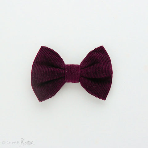 Autumn18 Corduroy Large Bow Clip - Plum