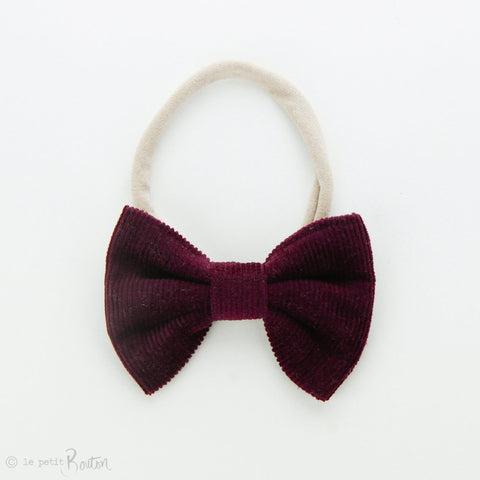 Autumn18 Corduroy Large Bow Headband - Plum