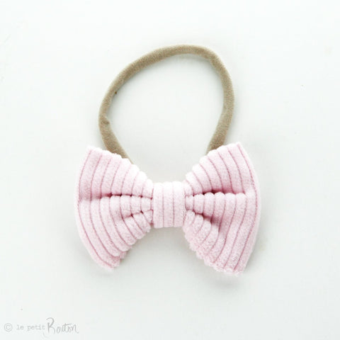 Autumn18 Corduroy Large Bow Headband - Ballerina PInk