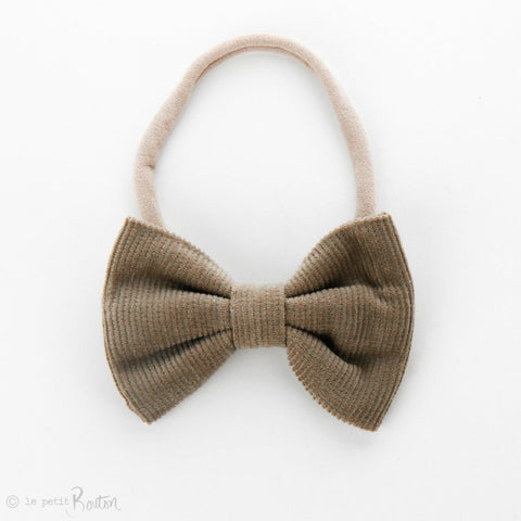 Autumn18 Corduroy Large Bow Headband - Stone