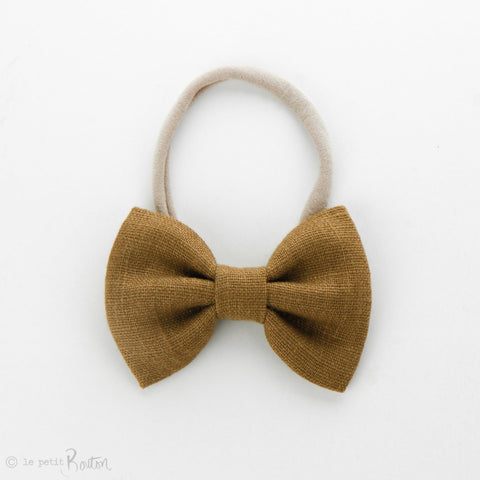 Autumn18 Linen Large Bow Headband - Golden