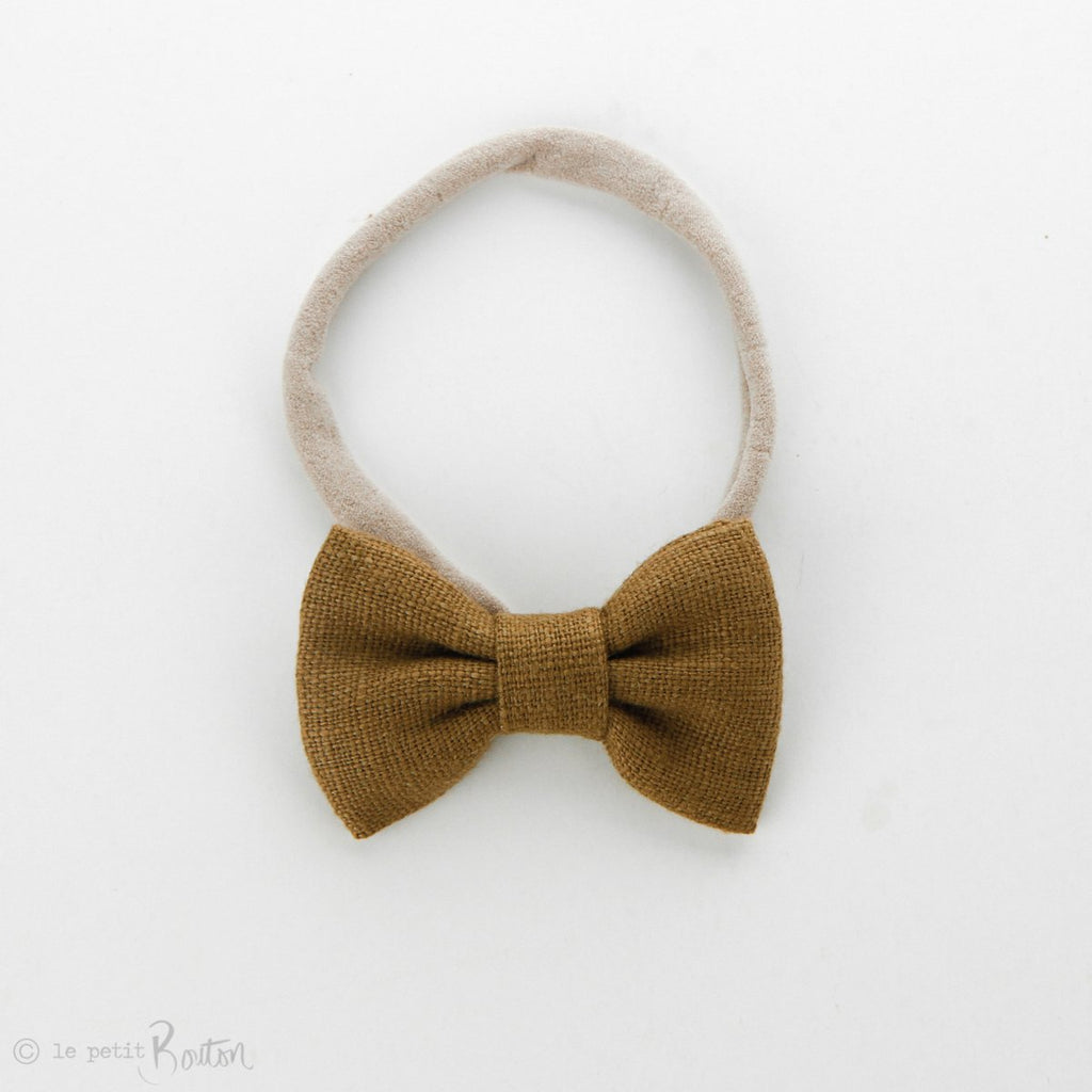 Small Linen Bow on Nylon Headband - Golden