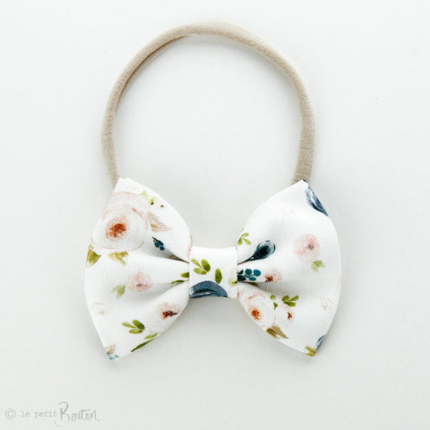 Linen Large Bow On Nylon Headband - Floral Me Autumn