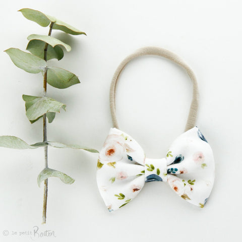 Autumn18 Linen Large Bow Headband - Floral me Autumn