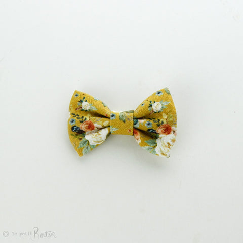 Autumn18 Linen Small Bow Clip - Mustard Floral