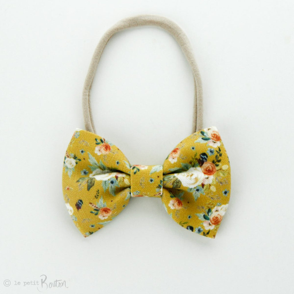 Linen Large Bow on Nylon Headband - Mustard Floral