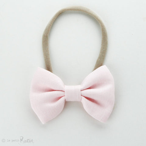 Autumn18 Linen Large Bow Headband - Fairy Floss Pink