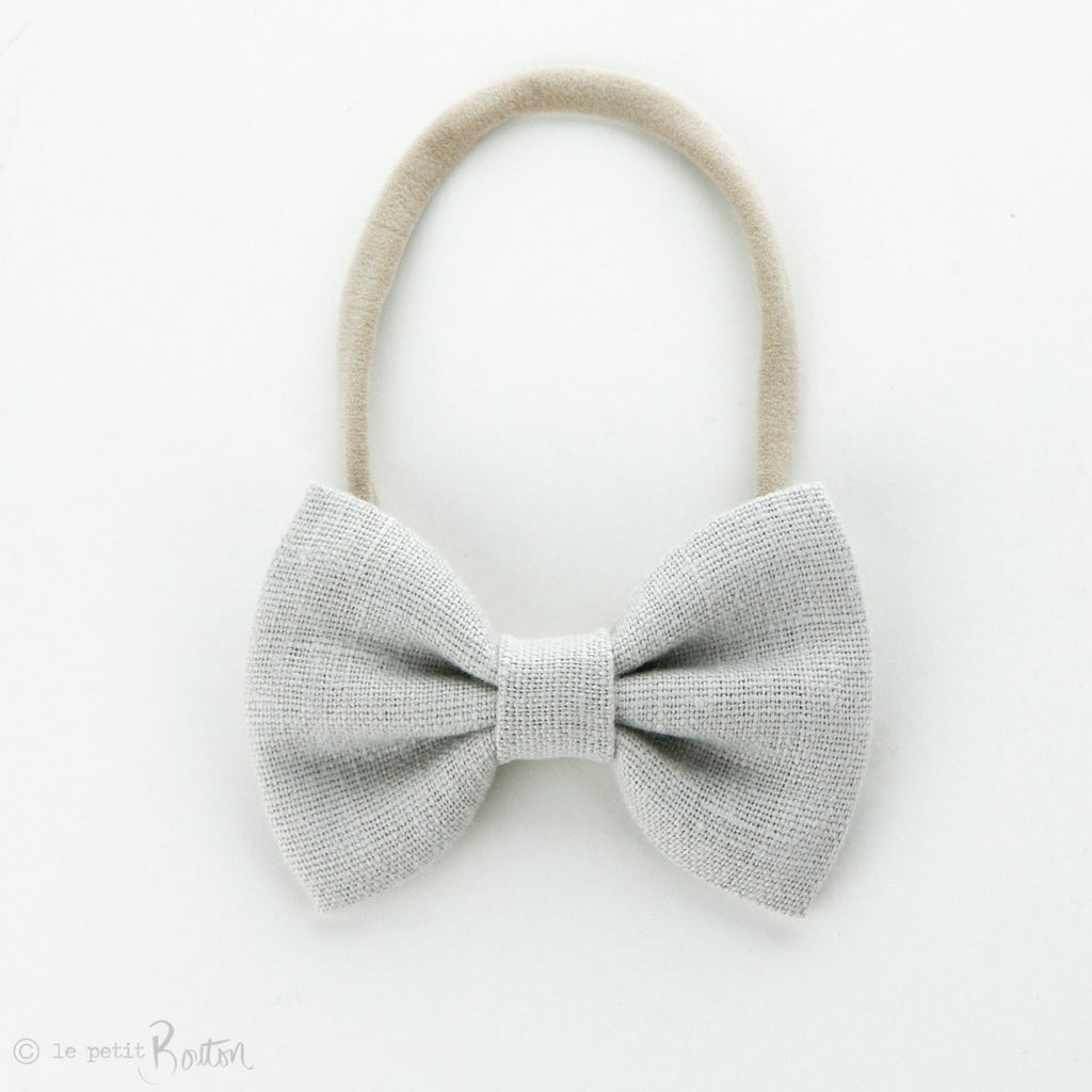 Large Linen Bow on Nylon Headband - Cloud
