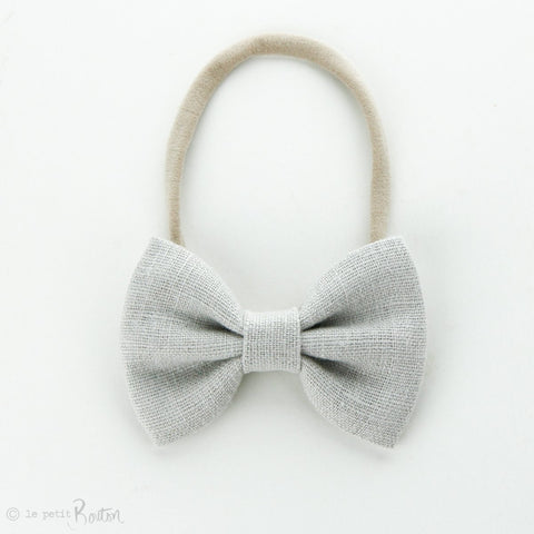 Autumn18 Linen Large Bow Headband - Cloud