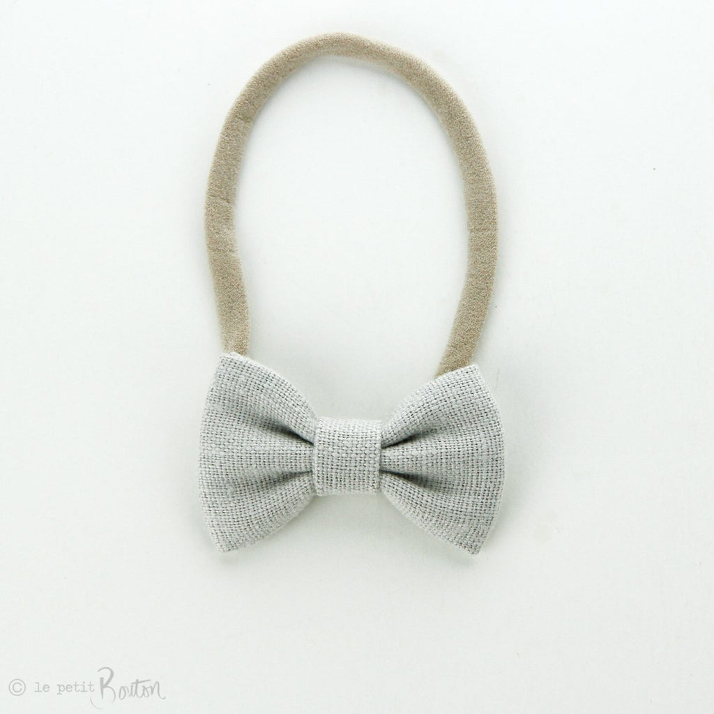 Small Linen Bow on Nylon Headband - Cloud