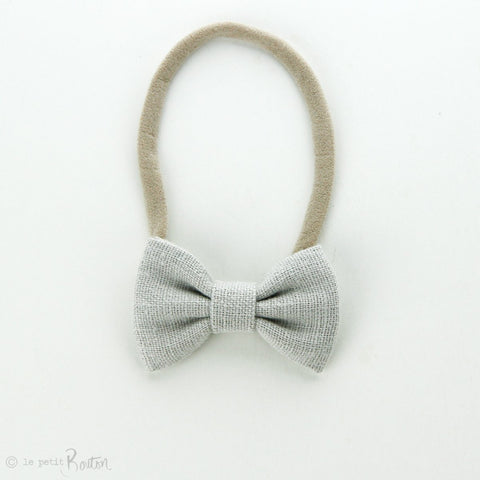 Autumn18Linen Small Bow Headband - Cloud