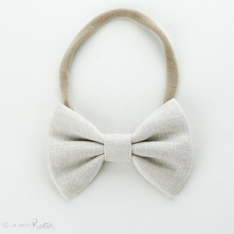 Autumn18 Linen Large Bow Headband - Oat
