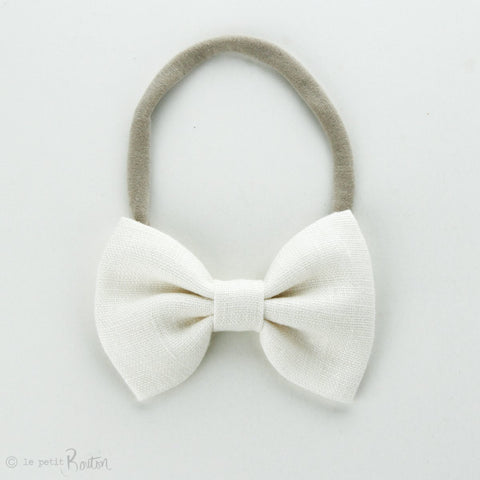 Autumn18 Linen Large Bow Headband - Creme