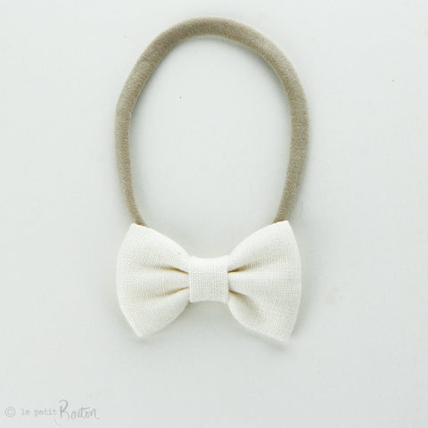 Autumn18 Linen Small Bow Headband - Creme