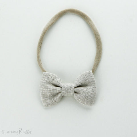 Autumn18 Linen Small Bow Headband - Oat