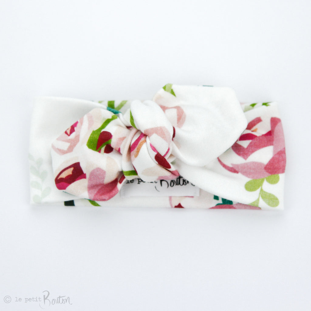 S.ONE Organic Cotton Top Knot Headband - Raspberry Bloom - ;AST ONE!