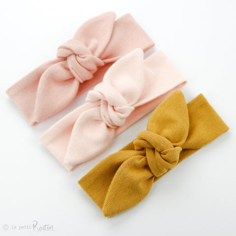 Newborn Organic Cotton Ribbed Top Knot Headband - Blush Pink