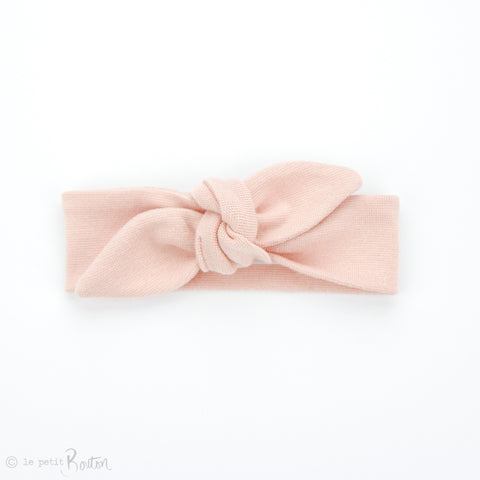 Newborn Organic Cotton Ribbed Top Knot Headband - Dusty Pink