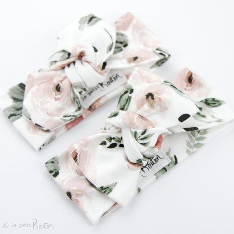 S.ONE Organic Cotton Top Knot Headband - Prettiest Peony
