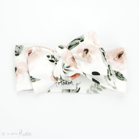S.ONE Organic Cotton Bow Knot Headband - Prettiest Peony