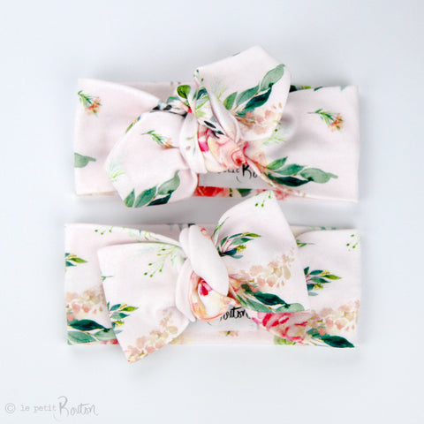 S.ONE Organic Cotton Bow Knot Headband - Spring Rose