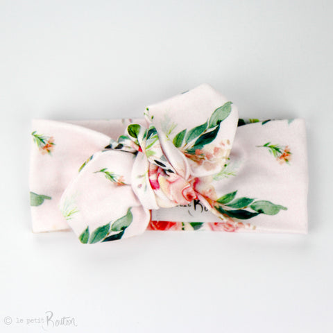 Organic Cotton Top Knot Headband - Spring Rose