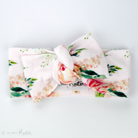 Organic Cotton Bow Knot Headband - Spring Rose