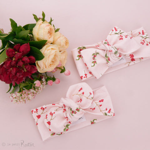 Christmas Organic Cotton Bow Knot Headband - Fairy Floss & Berries