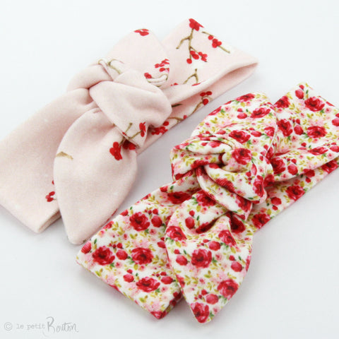 Christmas Newborn Organic Cotton Top Knot Headband - Christmas Floral