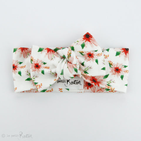 Christmas Organic Cotton Bow Knot Headband - Poinsettia