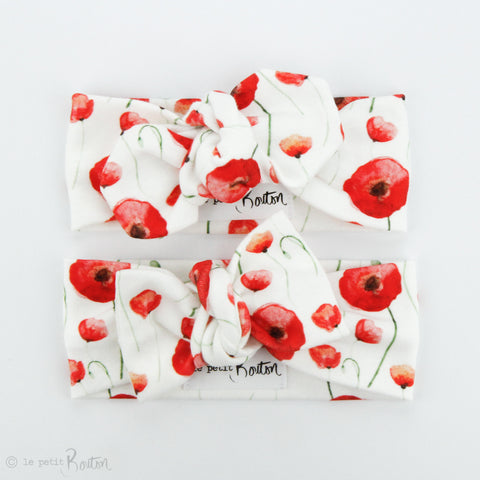 Christmas / Remembrance Day Organic Cotton Bow Knot Headband - Poppy