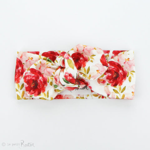 Christmas Organic Cotton Top Knot Headband - Christmas Floral