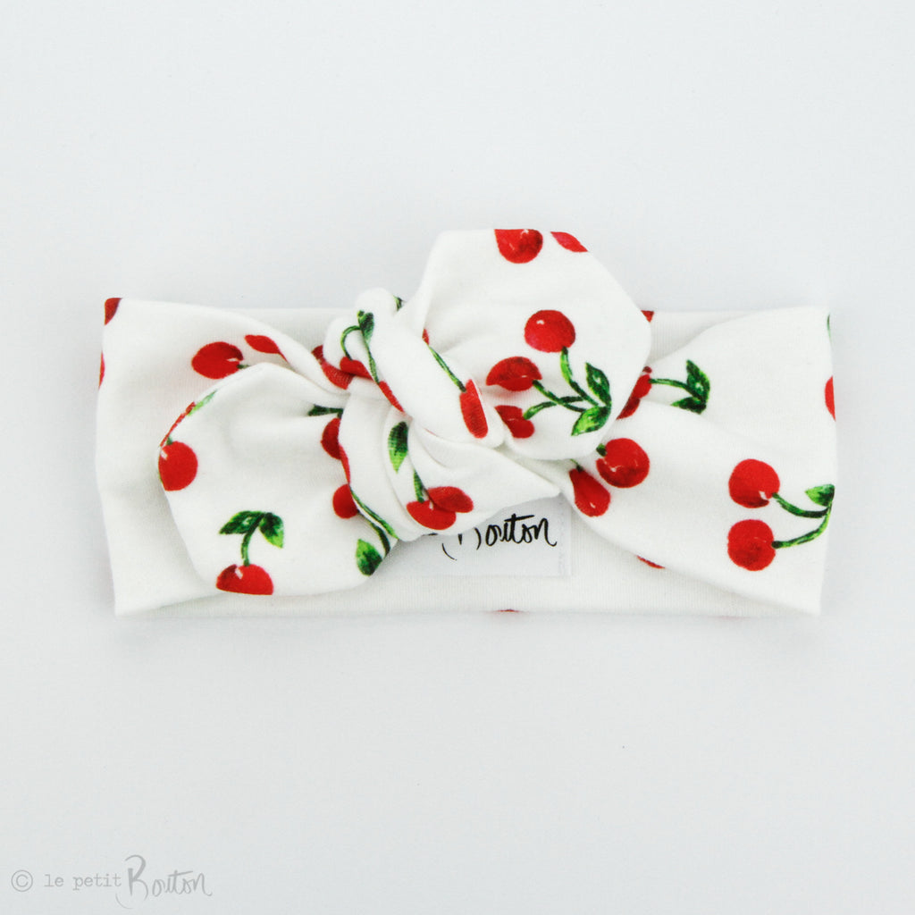 Christmas Organic Cotton Top Knot Headband - Cherries