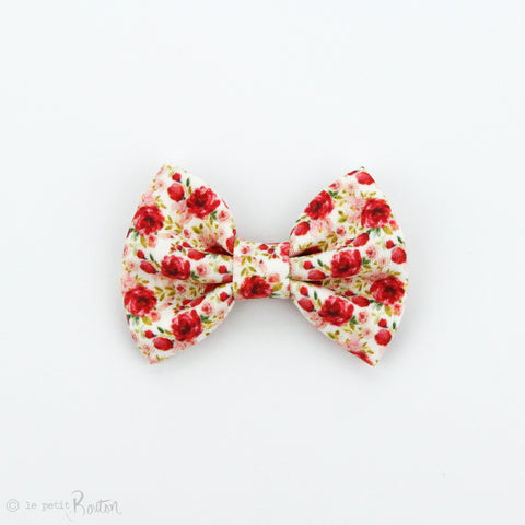 Christmas Large Linen Bow Clip - Christmas Floral